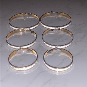 3 Pairs Gold-Plated Silver Glitter Hoop Earrings